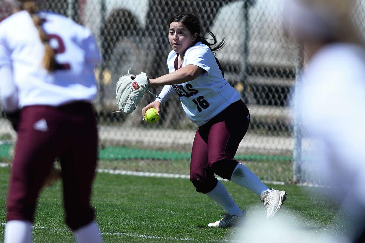 Lee's Emily Gonzalez fields a hit from Permian March 13, 2019, at Gene Smith Field. James Durbin / Reporter-Telegram