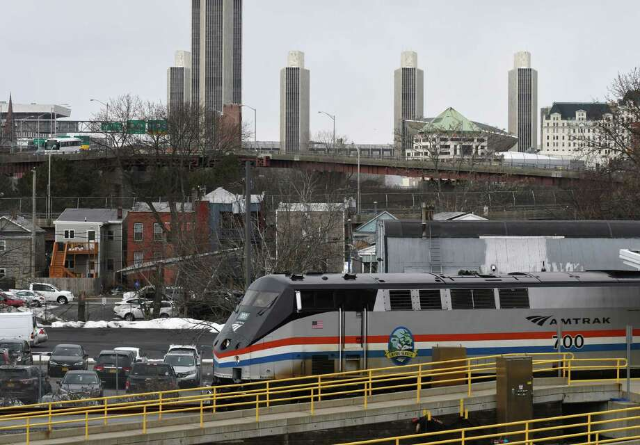 A New York-bound Amtrak train pulls out of the Albany-Rensselaer train station on Monday Feb. 25, 2019, in Rensselaer, N.Y. (Will Waldron/Times Union) Photo: Will Waldron / 40046277A