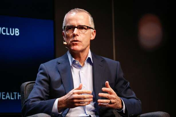 Andrew McCabe, former acting head of the FBI fired by Trump, speaks to a sold out audience at his book tour on Wednesday, March 13, 2019 in San Francisco, Calif.