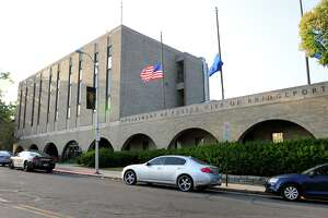 A view of the Bridgeport Police Department on Congress Street in Bridgeport, Conn. on Friday, Aug. 7, 2014.