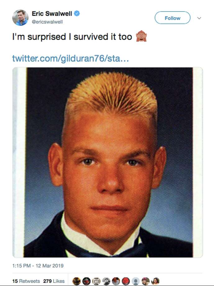 People had strong reactions to Rep. Eric Swalwell's yearbook photo, which went viral the week of March 12, 2019. Photo: Screenshot Via Twitter
