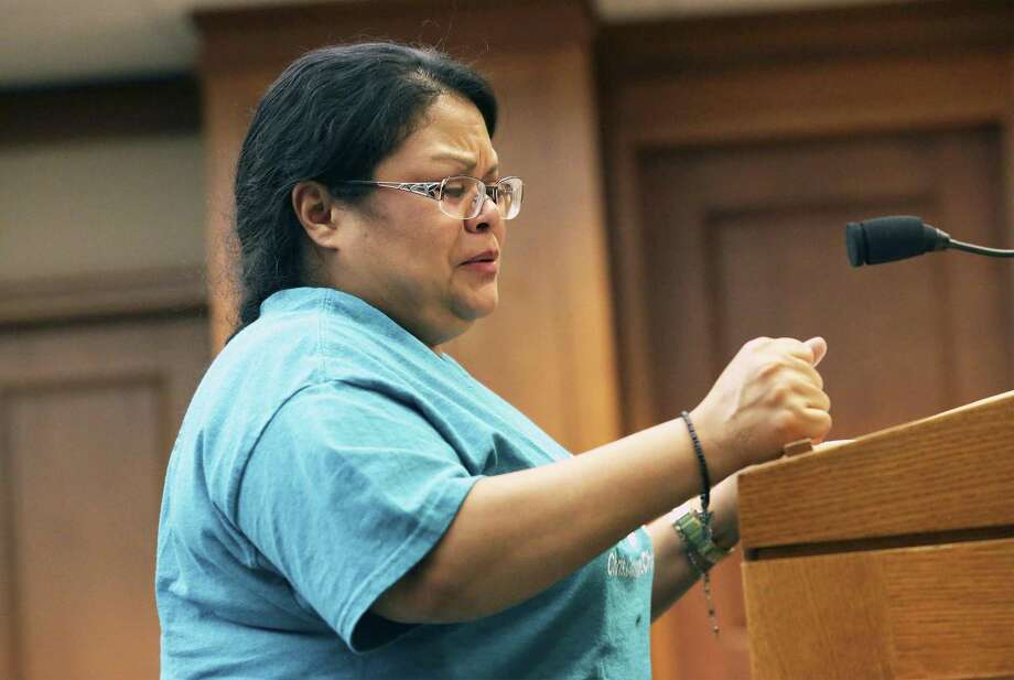 Rosie Stone, mother of school shooting victim Chris Stone, pleads with lawmakers as Santa Fe families appear Wednesday in Austin to voice their opposition to HB256 by Rep. Joseph Moody which would reduce length of sentences for offenders under 18 years of age on March 13, 2019. Photo: Tom Reel, Staff / Staff Photographer / 2019 SAN ANTONIO EXPRESS-NEWS