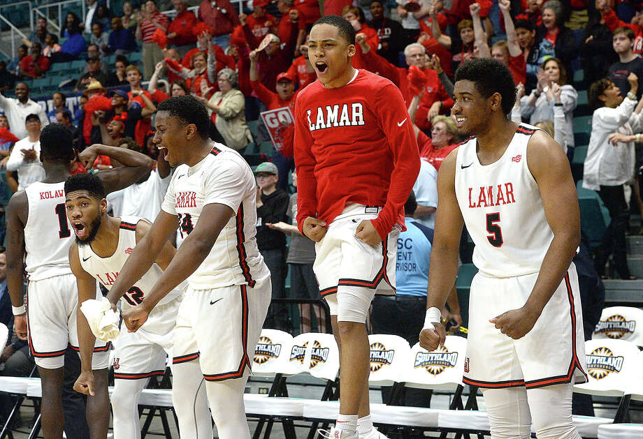 Lamar's bench explodes as they near clinching the win against Houston Baptist during their Southland tournament match-up Wednesday at the Merrell Center in Katy. Photo taken Wednesday, March 13, 2019 Kim Brent/The Enterprise Photo: Kim Brent, The Enterprise / BEN