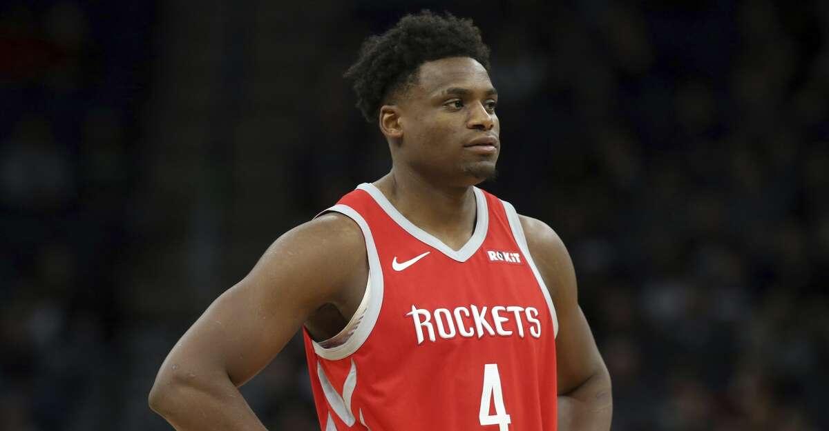 Houston Rockets' Danuel House Jr. plays against the Minnesota Timberwolves in an NBA basketball game Monday, Dec. 3, 2018, in Minneapolis. (AP Photo/Jim Mone)