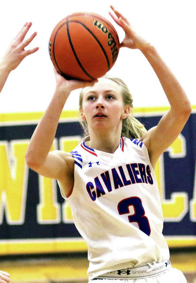 girlsCarlinville's Rachel Olroyd (right) will be a member of the girls West All-Star Team at the Carlinville Rotary Club All-Star Basketball Classic March 24 at Carlinville High School. she is shown inaction this season against Gillespie.