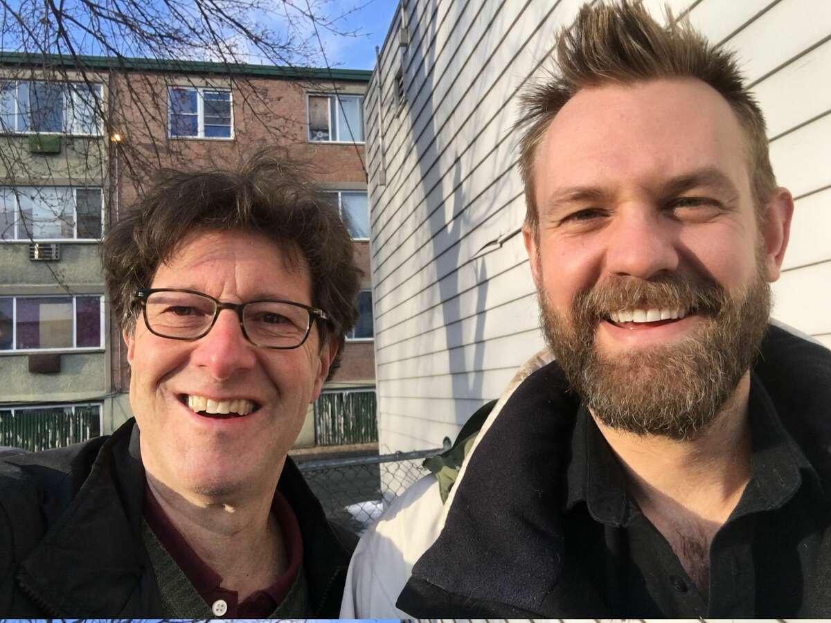 Hearst columnist Dan Haar, left, and Rep. Josh Elliott, D-Hamden.
