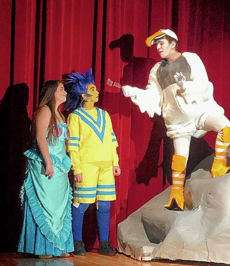 "Members of the cast of the Jacksonville High School production of ""The Little Mermaid"" rehearse a scene Monday in the JHS auditorium. Photo: Photo Provided"