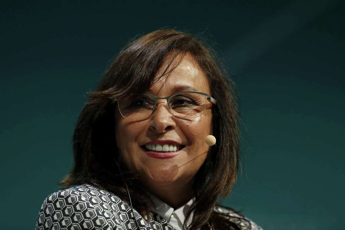 Rocio Nahle Garcia, Mexico's secretary of energy, smiles during the 2019 CERAWeek by IHS Markit conference in Houston, Texas, U.S., on Wednesday, March 13, 2019. The program provides comprehensive insight into the global and regional energy future by addressing key issues from markets and geopolitics to technology, project costs, energy and the environment, finance, operational excellence and cyber risks. Photographer: Aaron M. Sprecher/Bloomberg