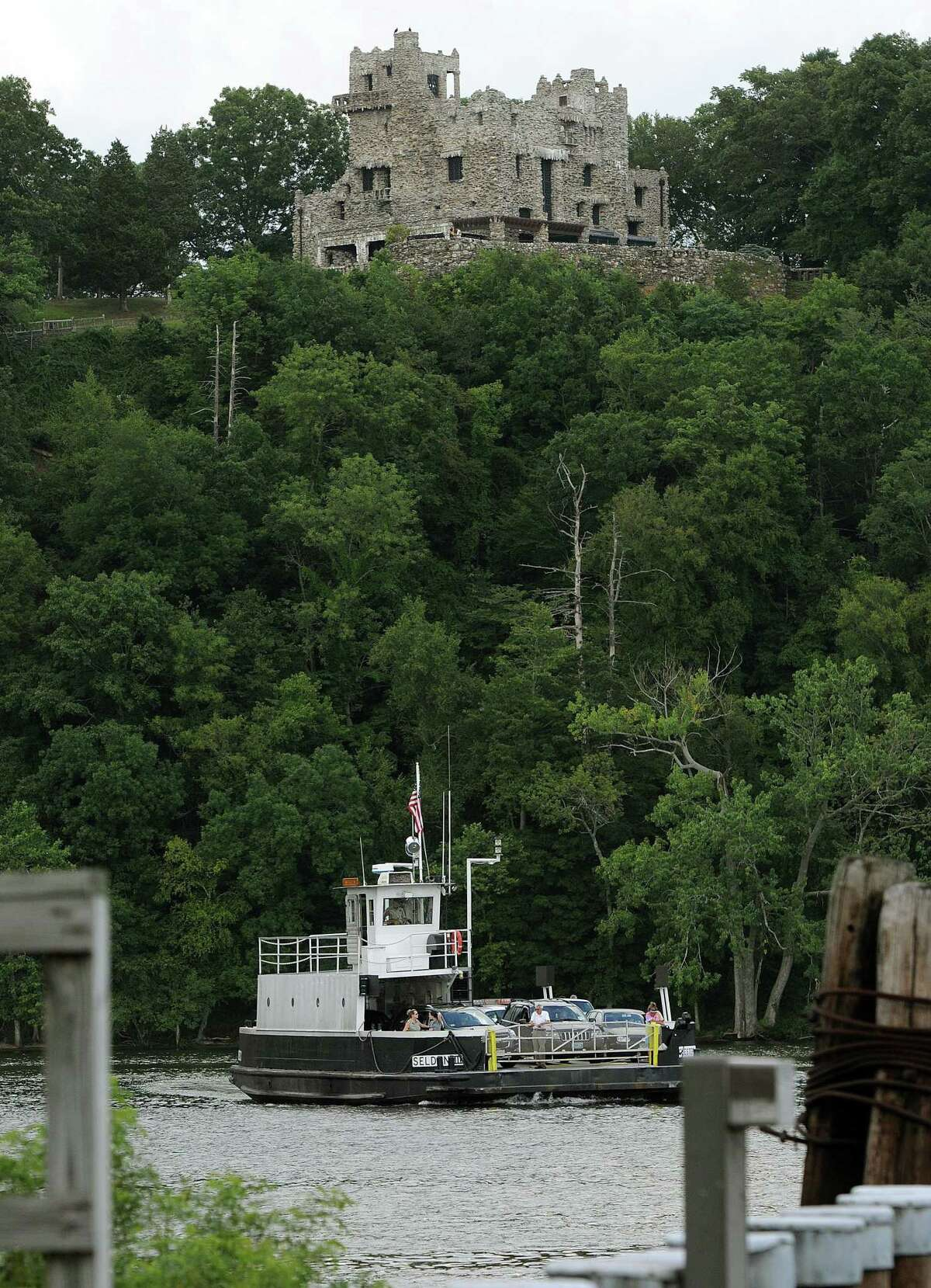 The Chester-Hadlyme Ferry crosses the CT River. Gillette Castle, a CT State Park. Photo by Mara Lavitt/New Haven Register 8/4/11