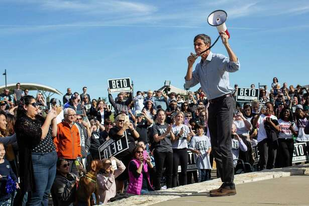 FILE -- Rep. Beto O'Rourke, the Democratic candidate for Senate in Texas, speaks at a campaign event in Murphy, Texas, Nov. 2, 2018. The art of inspiring online donors is very much about timing: It's about having a moment in the national spotlight - and then capitalizing on it. A looming deadline helps, too. (Tamir Kalifa/The New York Times)