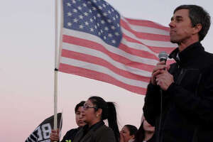 """Beto O'Rourke, the former Democratic congressman who is now considering a presidential run in 2020, speaks at a protest rally in El Paso, Texas, Feb. 11, 2019. O'Rourke said he would make an announcement """"soon,"""" as there has been much speculation about his possible entrance into the 2020 race. (Jessica Lutz/The New York Times)"""