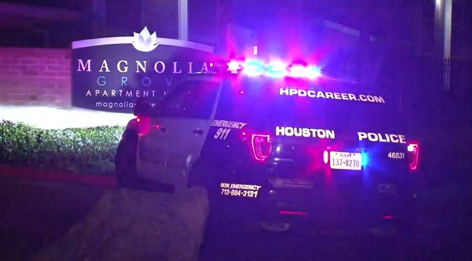 A man died at a hospital early Thursday after an off-duty Houston police officer found him in a parking lot with a gunshot wound. The officer heard the gunshot before investigating, police said. Photo: Metro Video