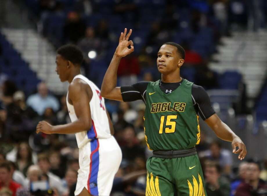 Klein Forest's Kharee McDaniel reacts after hitting a three at the UIL boys basketball 6A State final between Klein Forest and Duncanville, March 9, 2019 at the Alamodome in San Antonio, Texas. McDaniel was named the 2018-19 District 15-6A Most Valuable Player. Photo: Ronald Cortes/Contributor / Ron Cortes / 2019 Ronald Cortes