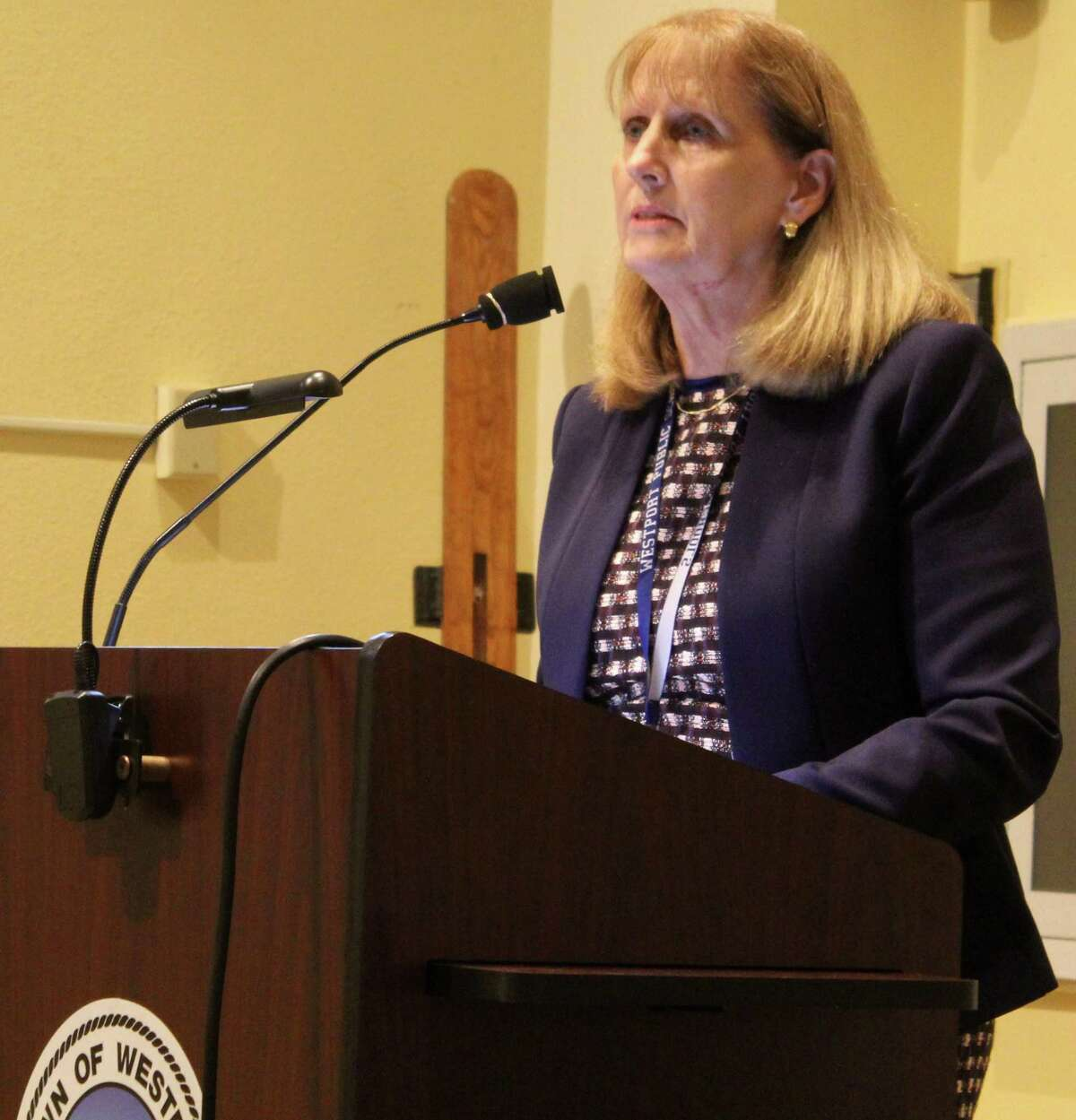 Superintendent Colleen Palmer spoke in support of an appropriation to fund two police officers to be housed in Westport's middle schools at the Oct. 2 Representative Town Meeting (RTM) meeting in Town Hall.