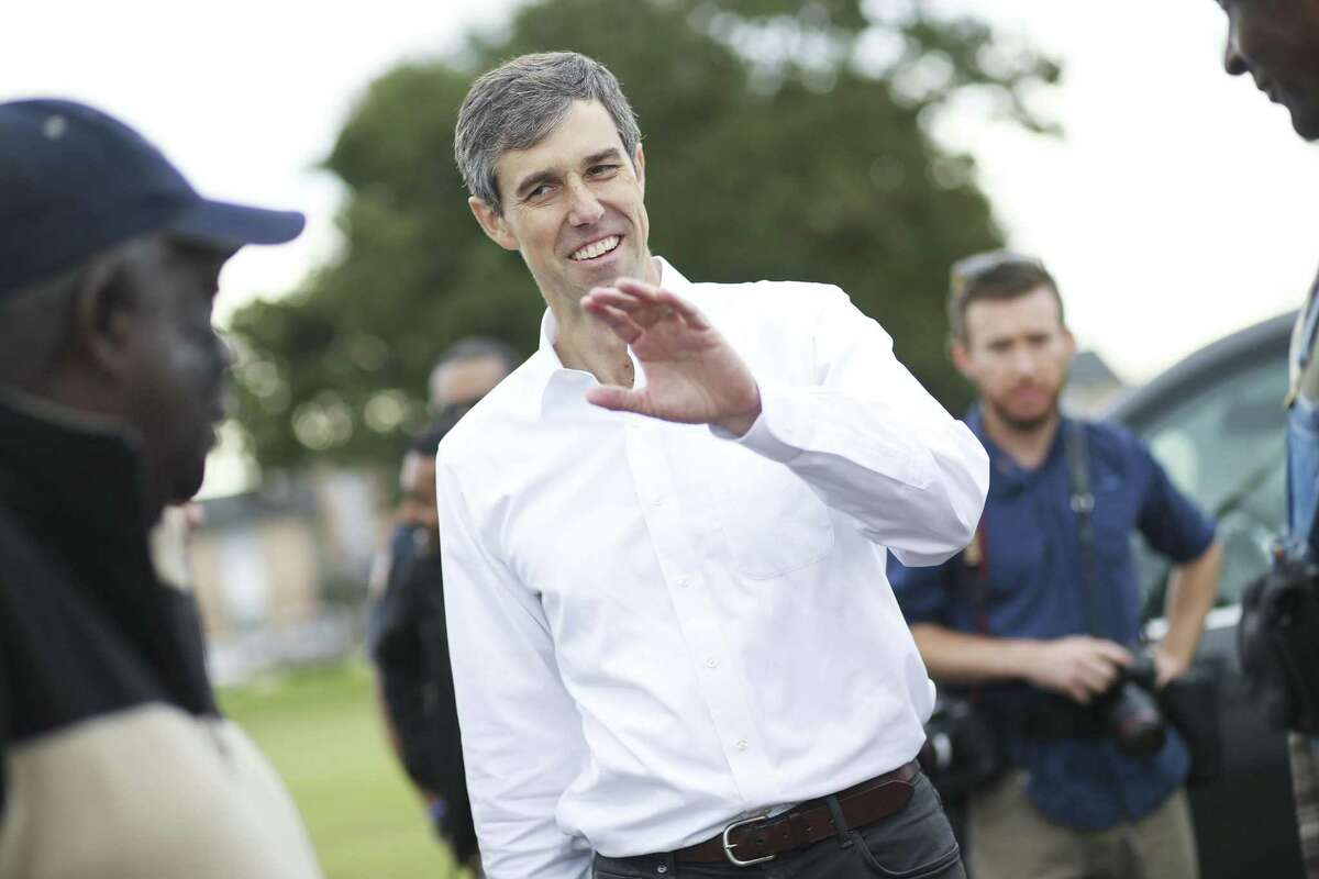 U.S. Senator Democrat candidate Beto O'Rourke meets voters at Northeast Multi-Service Center on the first day of early voting in Texas on Monday, Oct. 22, 2018 in Houston.