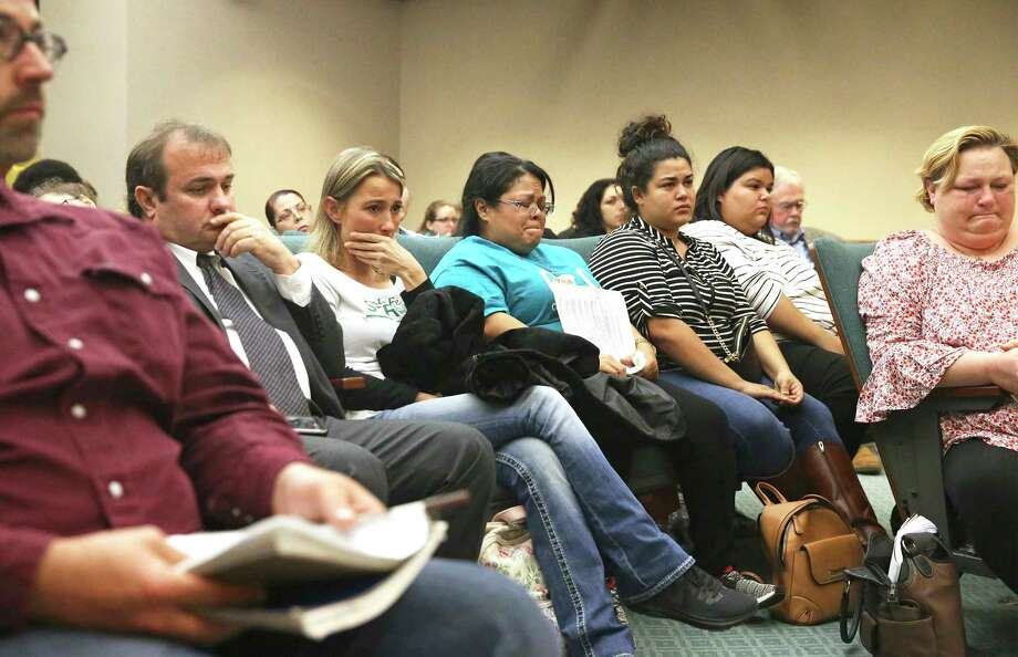 Grief surfaces as Santa Fe families appear Wednesday in Austin to voice their opposition to HB256 by Rep. Joseph Moody, which would reduce length of sentences for offenders under 18 years of age on March 13, 2019. (Tom Reel, Staff photographer | San Antonio Express News) / 2019 SAN ANTONIO EXPRESS-NEWS