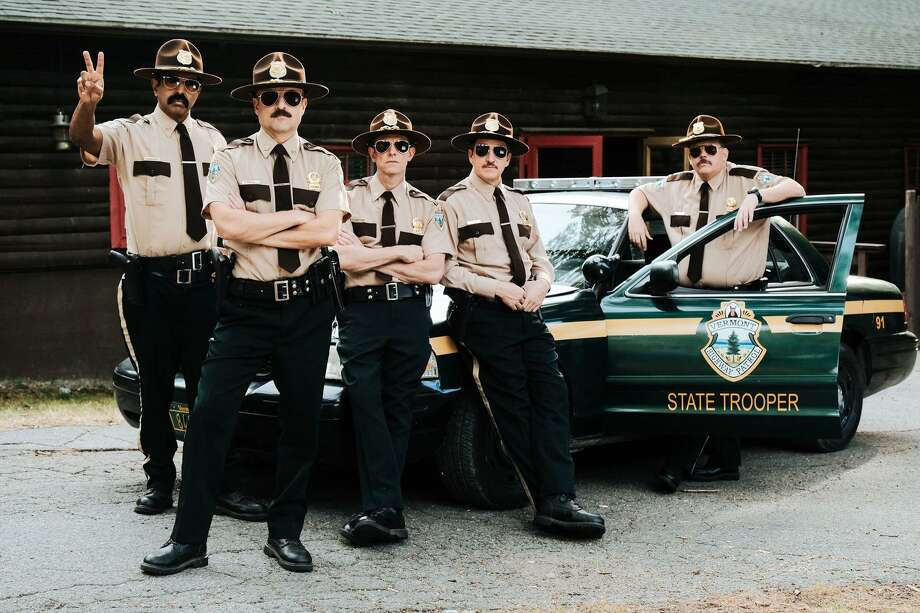 """Leading to """"Tacoma FD"""" was the modest success of """"Super Troopers 2"""" with, from left, Jay Chandrasekhar, Steve Lemme, Erik Stolhanske, Paul Soter and Kevin Heffernan. Photo: Jon Pack / Fox Searchlight Pictures / Jon Pack-Commander Softpants"""