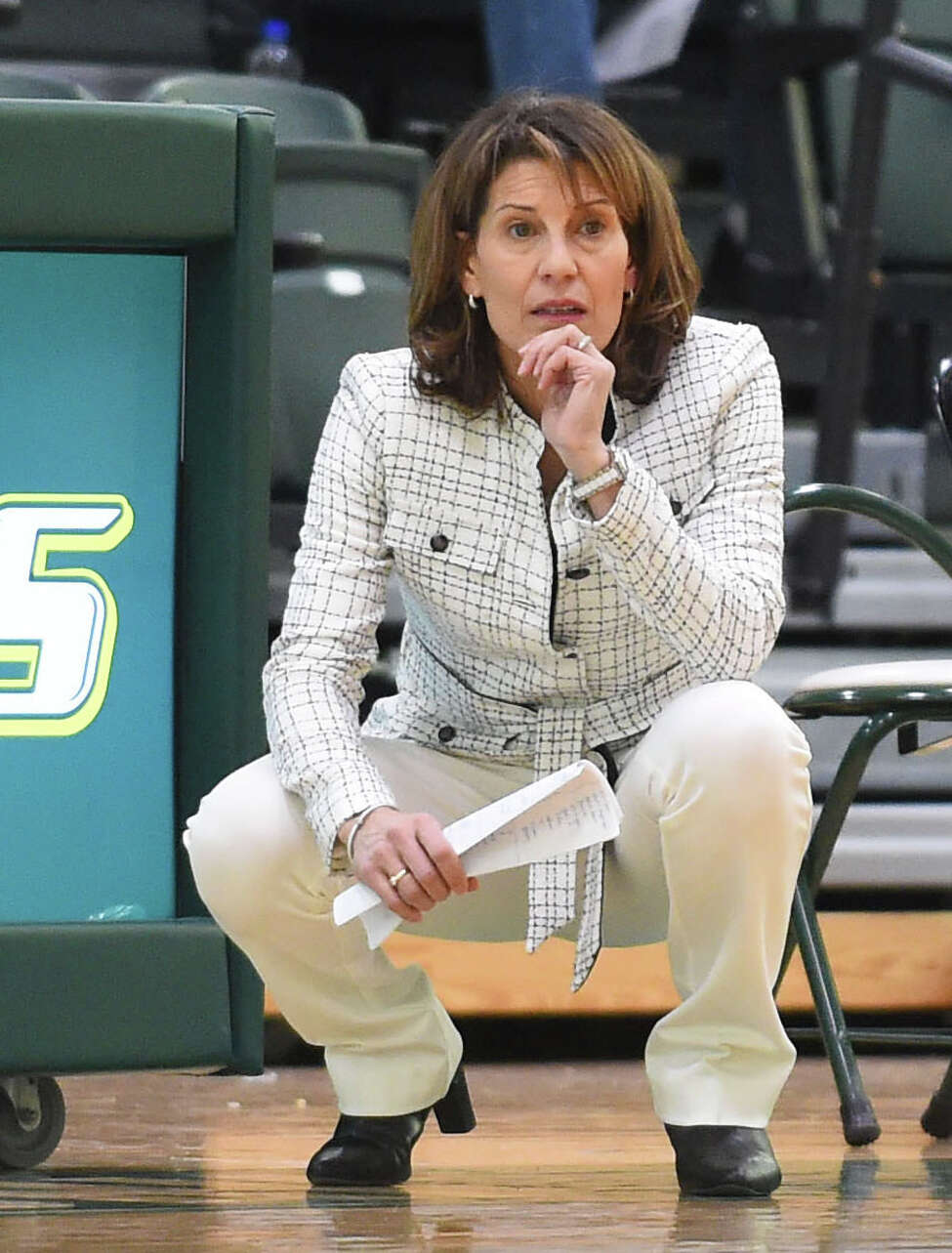 Gina Castelli, the former Siena College head coach who is now in her 6th season at Le Moyne, has relied on a trio of Capital Region players in this, her best season, at the Division II level. Her team won the Northeast-10 Conference Championship Sunday and will play in the NCAA Championship starting Friday. (Le Moyne Athletics / Greg Wall)