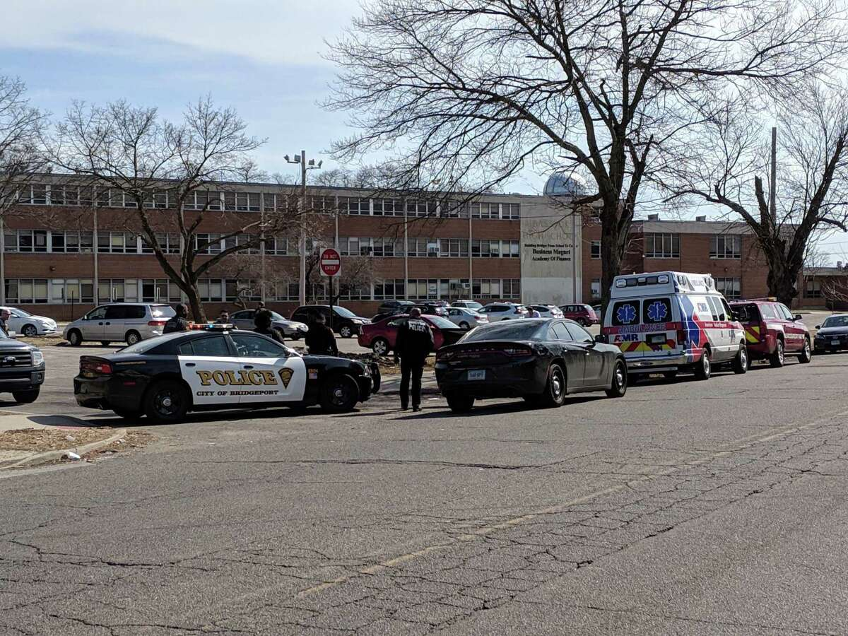 Police on scene at Bassick High School in Bridgeport, Conn., on March 14, 2019.