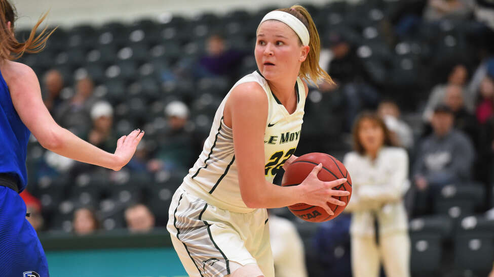 Le Moyne women's basketball senior captain Madison Purcell of Catholic Central High School is topping off her career as a Dolphin as a starter for most of her career and as the team's defensive specialist. (Le Moyne Athletics / Greg Wall)