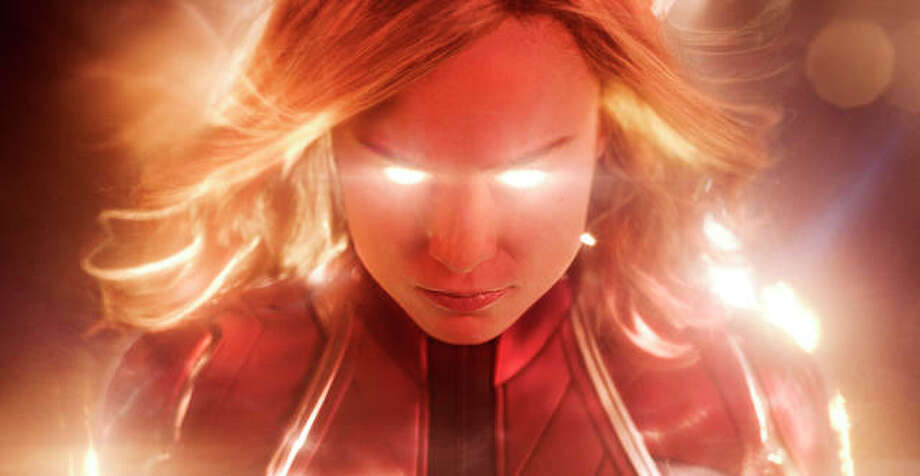 "This image released by Disney-Marvel Studios shows Brie Larson in a scene from ""Captain Marvel."" Marvel's ""Captain Marvel,"" the superhero factory's first movie fronted solely by a female hero, last weekend notched the sixth largest global opening ever and in five days of release has already sold $524.1 million tickets worldwide. Photo: Disney-Marvel Studios Via AP"