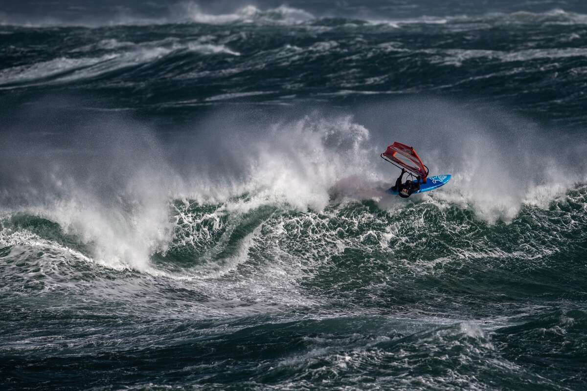 Jaeger Stone of Australia performs at the Red Bull Storm Chase in Magheroarty, Ireland, on March 12, 2019. Stone won the competition, which was held in brutal conditions.