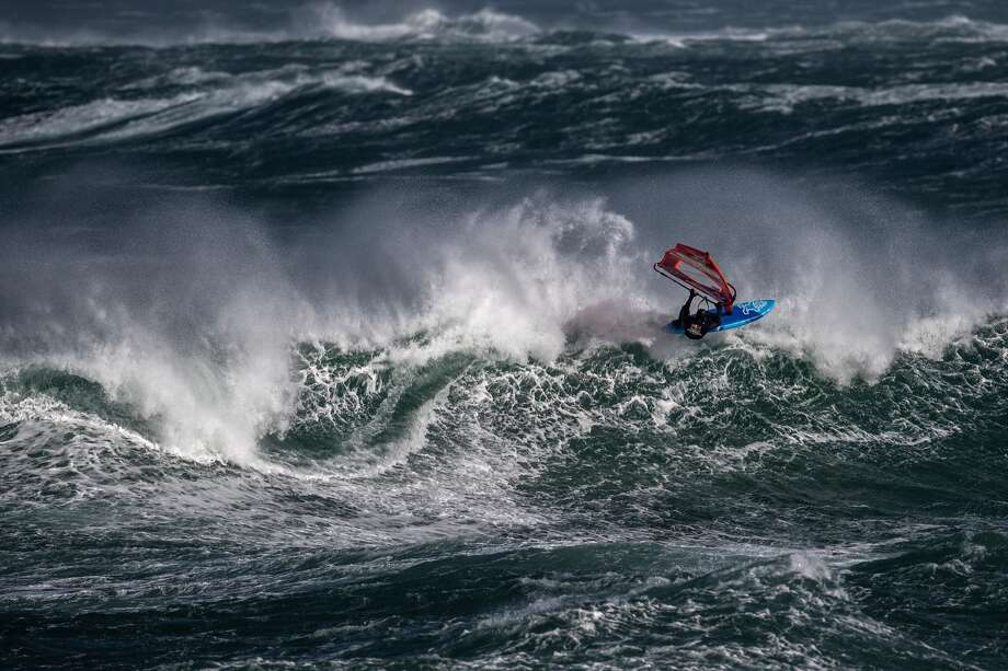 Jaeger Stone of Australia performs at the Red Bull Storm Chase in Magheroarty, Ireland, on March 12, 2019. Stone won the competition, which was held in brutal conditions. Photo: Joerg Mitter / Red Bull Content Pool / Joerg Mitter / Red Bull Content Pool