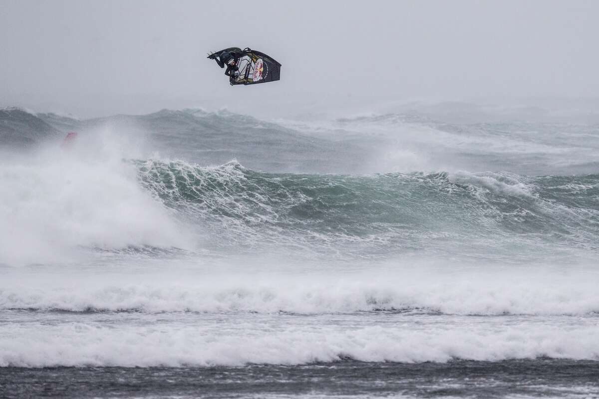 Ricardo Campello of Venezuela performs at the Red Bull Storm Chase in Magheroarty, Ireland on March 12, 2019.