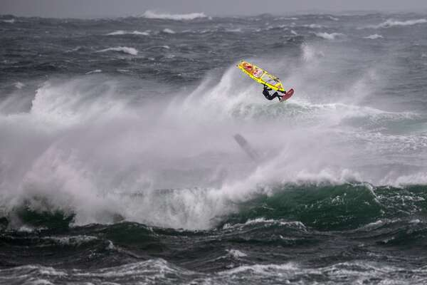 Thomas Traversa of France performs at the Red Bull Storm Chase in Magheroarty, Ireland on March 12, 2019.