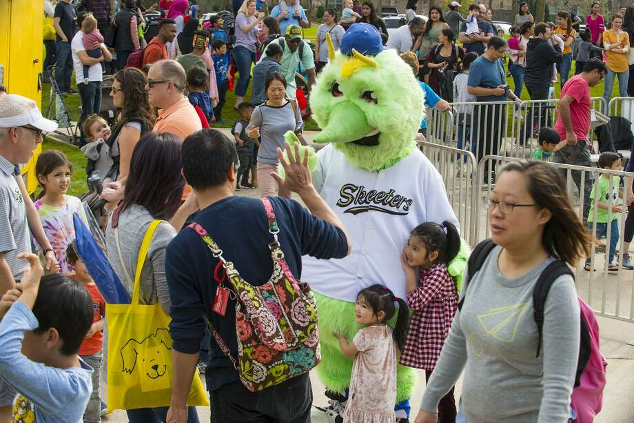 Sugar Land Skeeters mascot Swatson made an appearance at the Spring Fling Toddler Fair in Sienna Plantation on March 2 to high-five fans and pose for pictures. Photo: Colleen Lastrapes / Colleen Lastrapes