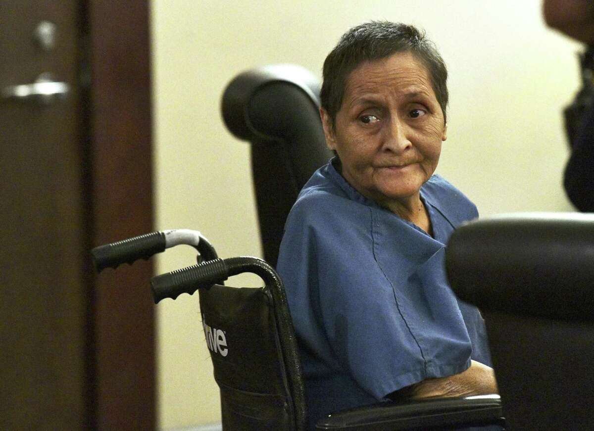 Beatrice Sampayo, 64, who is accused of helping cover up the death of her 8-month-old grandson, King Jay Davila, listens during a February hearing.