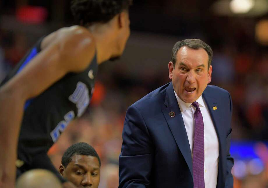 Duke coach Mike Krzyzewski yells during the Blue Devils' 81-71 defeat of Virginia last month in Charlottesville, Va. Photo: Washington Post Photo By John McDonnell / The Washington Post