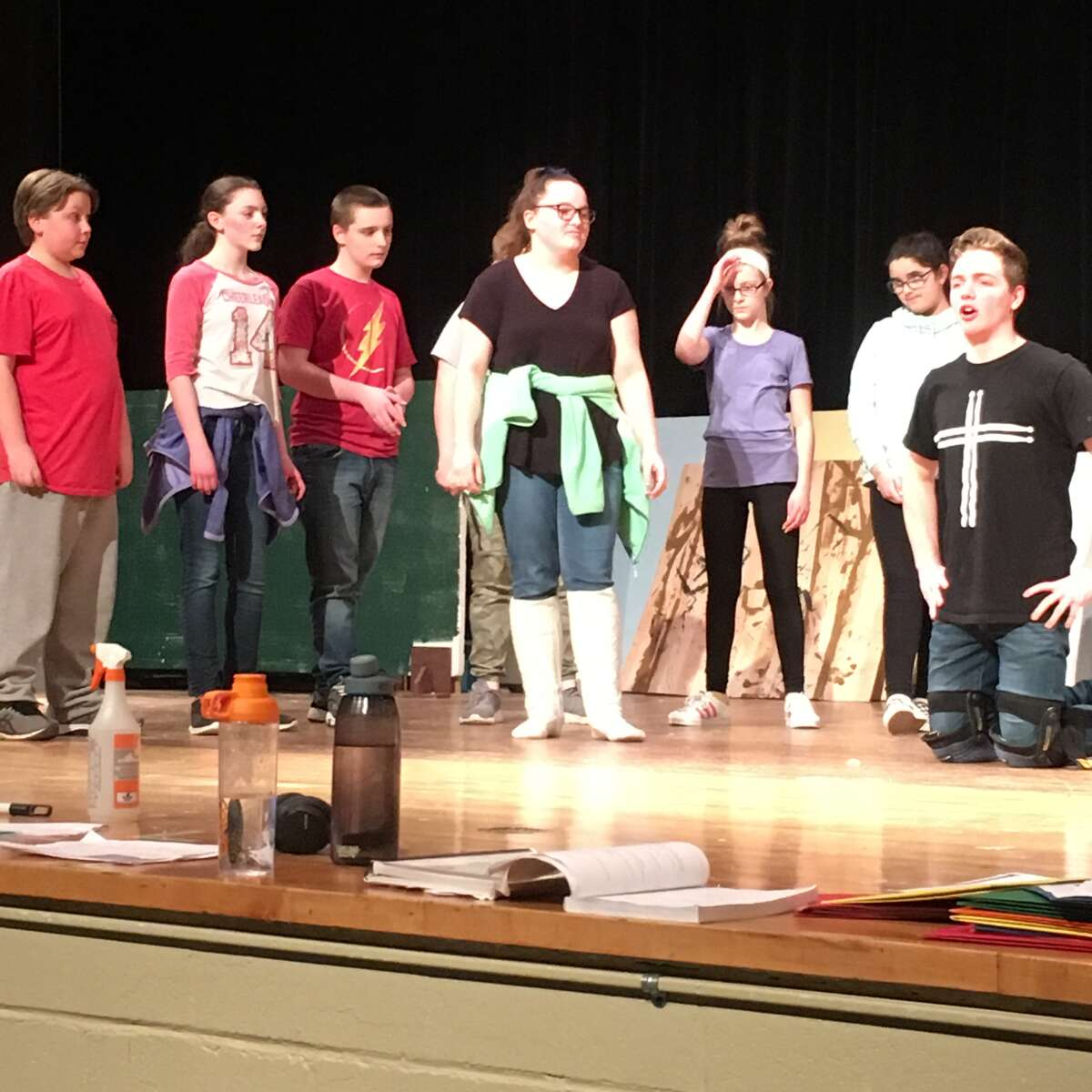 """Rehearsals for Cohoes High School's production of """"Shrek the Musical."""""""