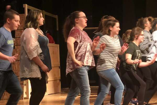 "Rehearsals for Cohoes High School's production of ""Shrek the Musical."""