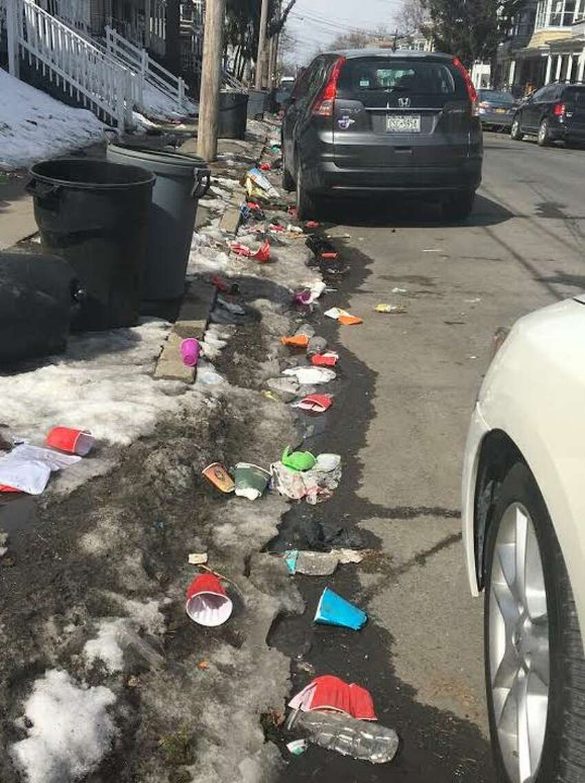 Justin Devendorf shared photos to his Twitter account on Wednesday, March 13, 2019, of garbage-strewn streets in Albany's Pine Hills neighborhood following Kegs & Eggs pre-St. Patrick's Day parties.