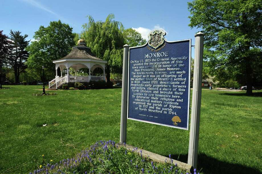 Town of Monroe sign on the green in front of the Municipal Offices at Town Hall Monroe, Conn. on Monday May 13, 2013. Photo: Cathy Zuraw / Cathy Zuraw / Connecticut Post