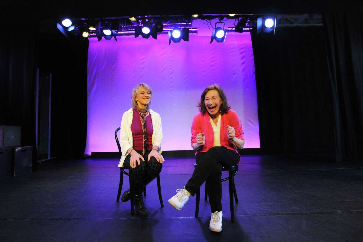 Former Broadway performers Carole Schweid of Westport, right, and Melody Libonati of New Canaan talk on the stage of the Performing Arts Conservatory of New Canaan in New Canaan on April 8, 2018. After leaving Broadway to start families, Schweid started Play With Your Food, which are one-act plays put on with lunch, and Libonati founded Summer Theatre of New Canaan, which produces one major Broadway-quality show each summer.
