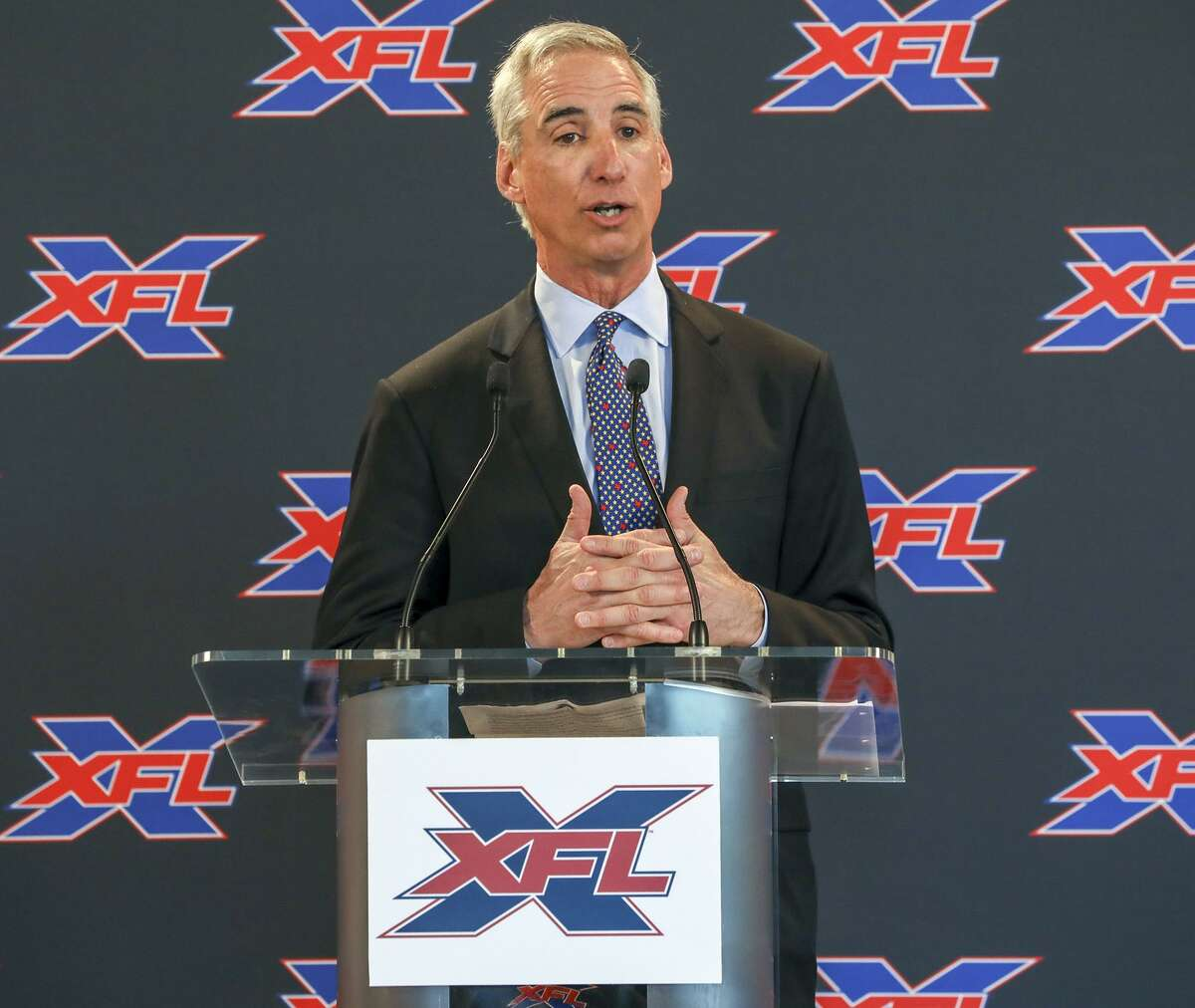 XFL Commissioner and CEO Oliver Luck speaks during a news conference on Tuesday, March 5, 2019 at Raymond James Stadium in Tampa, Fla. Luck, along with others, spoke during the announcement that Marc Trestman was named head coach of the Tampa Bay XFL team. Trestman is a former head coach in the NFL and CFL. (Chris Urso/Tampa Bay Times/TNS)