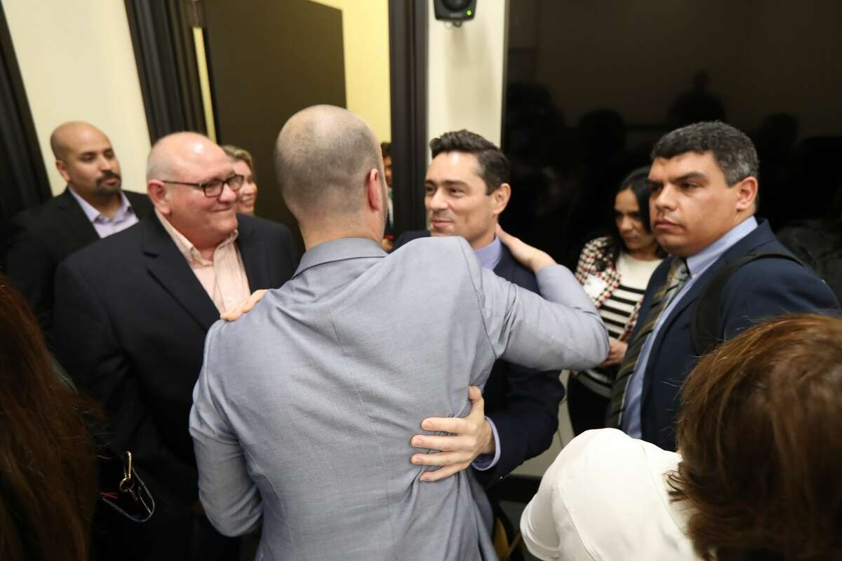 Venezuelan opposition ambassador Carlos Vecchio greets friends at the James A. Baker III Institute for Public Policy the campus of Rice University Wednesday, March 13, 2019, in Houston.