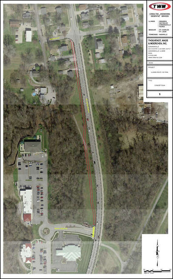 Edwardsville hopes to receive grant money to build a 10-foot wide, 1,100-foot long multi-use path on the west side of Route 159 (red lines on the map) by 2020, connecting W. Magnolia Street to Terre Verde Drive. Photo: Courtesy Of The City Of Edwardsville