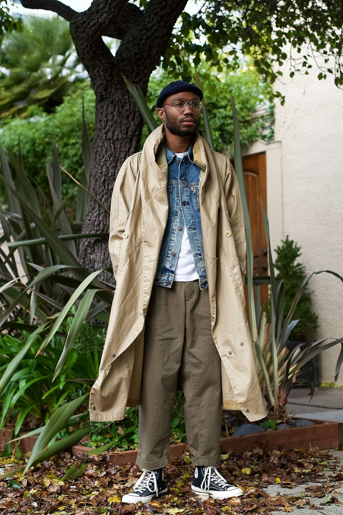 Unionmade�employee Branson Chase wears a Kapital jacket, Levi's jacket (under), Beams pants and Converse shoes.