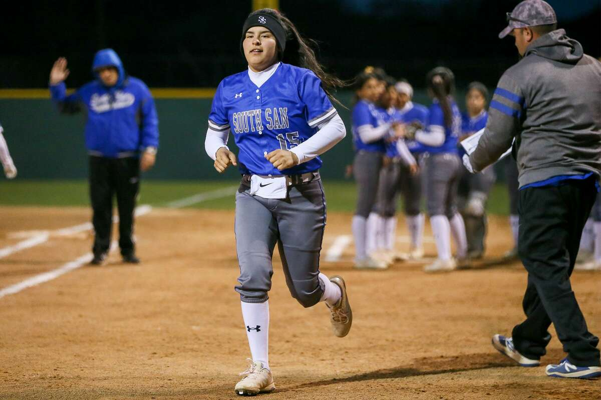South San's Skye Estrada is introduced prior to the start of their high school softball game with MacArthur at NEISD Softball Complex's West Field on Tuesday, March 5, 2019.