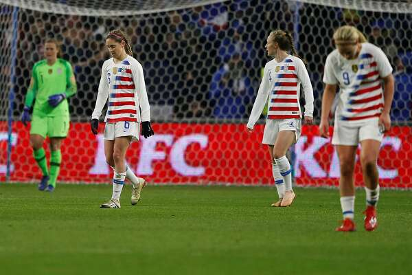 f9ea43810ae 3of15USA s Morgan Brian (L) reacts after conceding a goal during the  women s friendly football match between France and USA at Oceane stadium in  Le Havre