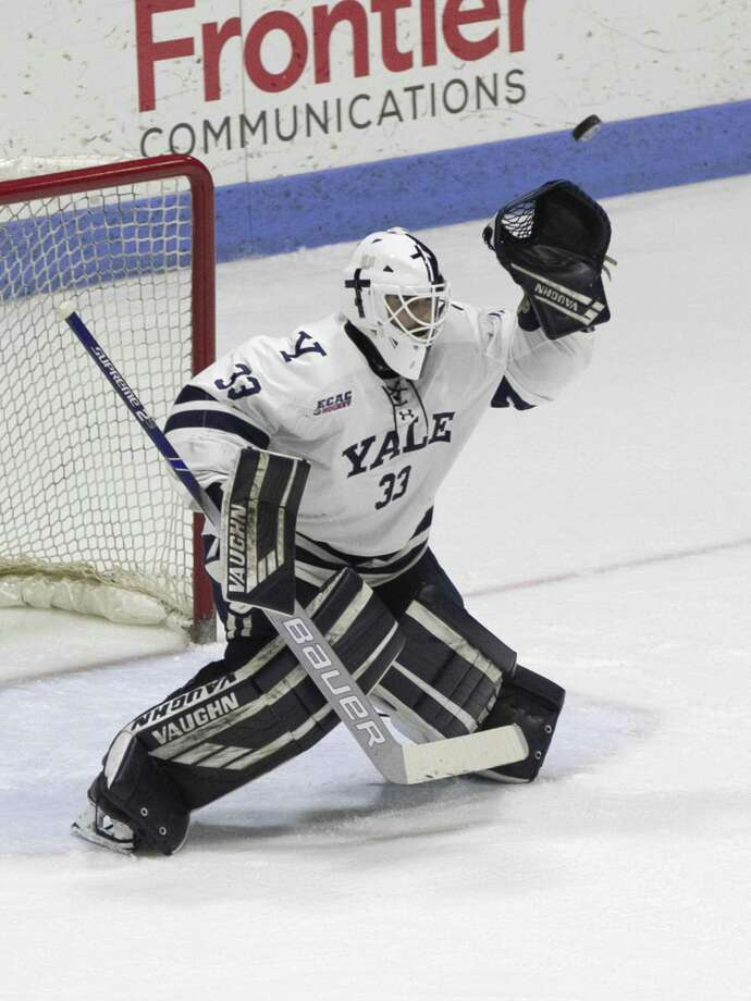 Goaltender Corbin Kaczperski will get the start in the series opener against Clarkson on Friday. Photo: Steve Musco / Yale Athletics / ©2018 - 2019 Steve Musco , All rights reserved