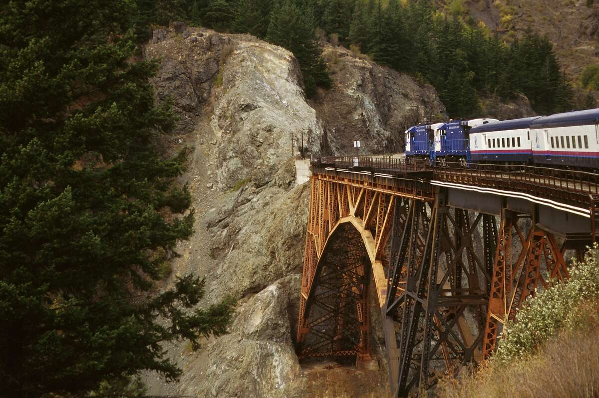 Canada, Rocky Mountaineer Train At Cisco Crossing.