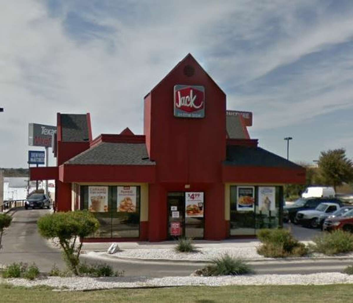 Jack in the Box: 6405 Loop 410 NorthDate: 02/25/2020 Score: 82Highlights: Inspectors observed a used glove in the hand washing sink. The microwave and the drawers under the grill had debris build up. The lid of the exterior waste unit was open with food debris inside.