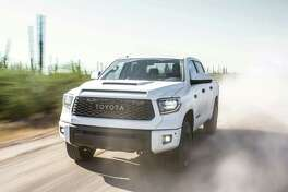 "Toyota's ultimate Tundra off-roader, the TRD Pro, is back in the lineup for the 2019 model year. It rolls on 18-inch satin-black five-spoke forged-aluminum wheels and is fitted with 2.5-inch aluminum-bodied Fox Internal Bypass shocks. Off-road capability is boosted with ""trail-tuned"" monotube Bilstein shocks, and skid plates protecting the engine and fuel tank. (Motor Matter photo)"