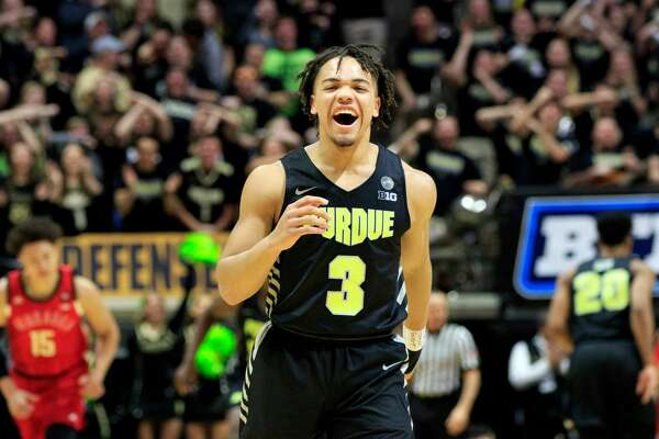 WEST LAFAYETTE, INDIANA - FEBRUARY 09: Carsen Edwards #3 of the Purdue Boilermakers celebrates after a play in the game against the Nebraska Cornhuskers during the second half at Mackey Arena on February 09, 2019 in West Lafayette, Indiana. (Photo by Justin Casterline/Getty Images)