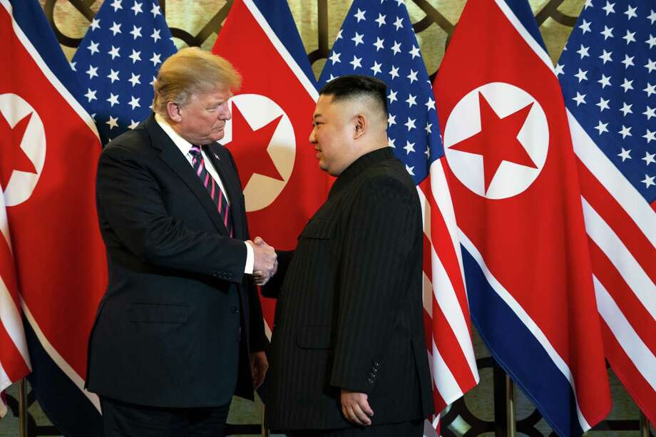 President Donald Trump and North Korean leader Kim Jong-un at their meeting in Hanoi, Vietnam, Feb. 27. Kim continues to add to his weapons arsenal and nuclear infrastructure despite Trump's efforts at diplomacy, U.S. intelligence officials say. A reader shares what he would say to Jong-un if he was Trump. Photo: DOUG MILLS /NYT / NYTNS