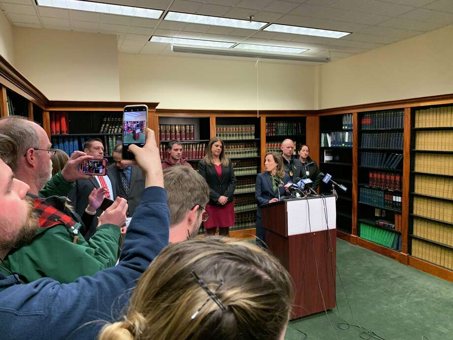 Berkshire County District Attorney Andrea Harrington briefs reporters on Thursday, March 14, 2019 about the murder-suicide that took place amid a fire at a home in Sheffield, Mass. on March 13. (Bethany Bump/ Times Union)